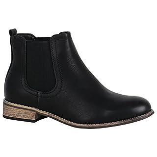 Gefütterte Damen Schuhe Chelsea Boots Kunstleder Stiefeletten 150435 Schwarz Avelar 38 Flandell