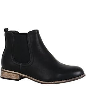 Stiefelparadies Damen Stiefeletten Chelsea Boots mit Blockabsatz Holzoptikabsatz Flandell