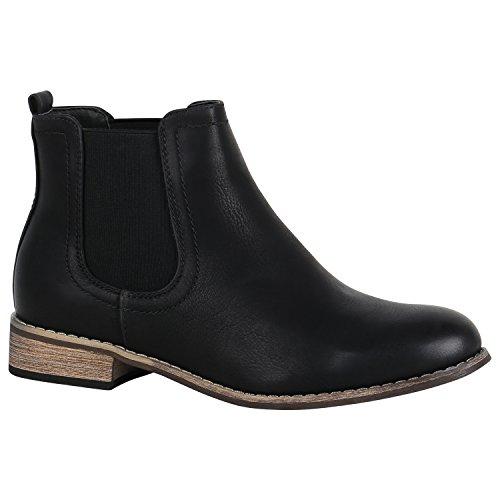 Gefütterte Damen Schuhe Chelsea Boots Kunstleder Stiefeletten 150435 Schwarz Avelar 38 Flandell (Schuhe Boot Damen)