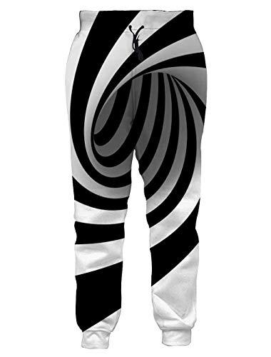 (Loveternal Hypnose Jogginghose für Männer und Frauen 3D Print Jogger Grafik Fallschirm Training Pants M)