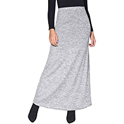 KRISP Falda Larga Mujer Boho Hippies Bohemia Elegante Vuelo Talla Grande Cintura Alta Elástica, (Gris (2968), 46 EU (18 UK)), 2968-GRY-18