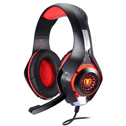 Samoleus Gaming Headset für PS4 PC Xbox One, 3.5 mm Stereo Gaming LED Licht Over Ear Kopfhörer mit Mikrofon für Computer Mac Nintendo Switch Tablet mit Noise Cancelling & Lautstärkeregelung ()