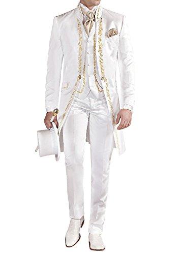 GEORGE BRIDE Herren Anzug 3-Teilig Anzug Sakko,Weste,Anzug Hose,007 (M, Elfenbein)