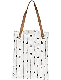 Midwest Women'S Gray Arrows On White Fashion Tote Bag With Vegan Leather Handle By Midwest-Cbk