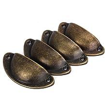 Tinksky 4pcs Vintage decorativo cajón Pull Asa hierro semicírculo pomos de puerta (bronce)