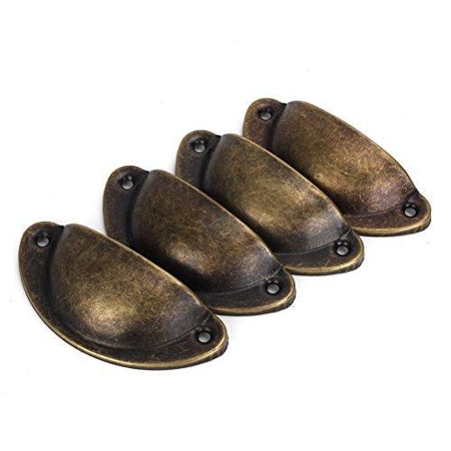 Dekorative Möbelknöpfe (PIXNOR MöbelKnopf 4* Jahrgang dekorative Tür Schublade Pull Handle Eisen Halbkreis Türgriffe (Bronze))