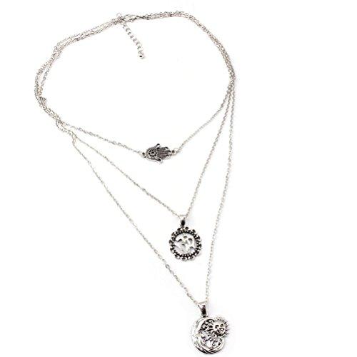 LUOEM Böhmische Kettenhalsketten mehrschichtige unregelmäßige hängende Halsketten Statement Halsketten Schmucksache Geschenk