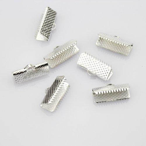 15 mm latón bañado en plata de cinta marcador de libros con pulsera de piel de animales Crimpa de acoplamiento juego de enganches para bisutería (50 piezas)