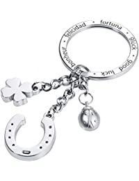 TROIKA GLÜCKSBRINGER Hufeisen – KR16-11/CH – Porte-clés avec 3 breloques – fonte métallique/émail– brillant – chrome – argent – TROIKA-original