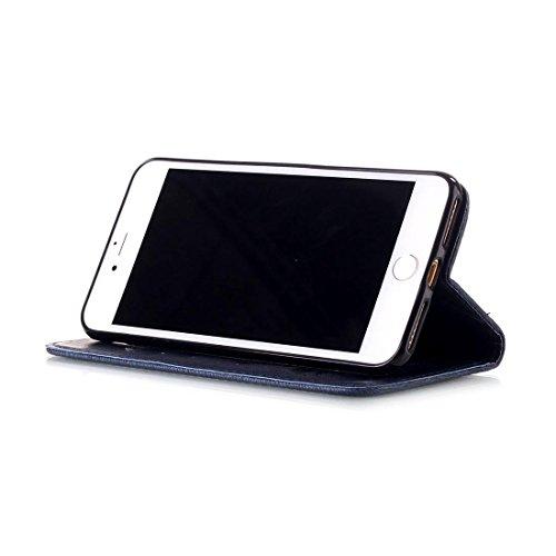 iPhone 7 Coque - Marron, Bling Cristal Strass Cuir Etui Rabat Style Portefeuille Case Avec Carte Slots pour Apple iPhone 7 4.7 inch Avec Fleur Papillon Embossage Motif violet