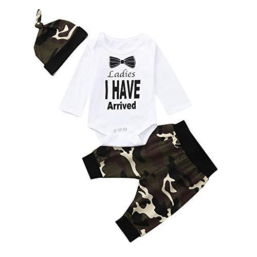 Baby Jungen Kleidung, Sunday Neugeborenen Baby Jungen Strampler Overalls + Hosen +Hüte 3 Stück Baby Outfit Set Kleinkind Kleidung Frühling Herbst (Babys Frühling Kleidung)