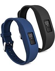 kwmobile 2in1 Set: 2x Sport Ersatzarmband für Garmin Vivofit 3 in Schwarz Dunkelblau Innenmaße: ca. 15,5 - 21,5 cm - Silikon Armband mit Uhrenverschluss ohne Tracker