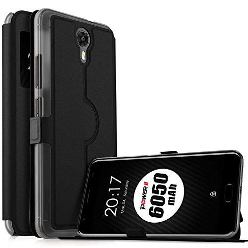Ulefone Power 2 Hülle, KuGi Ulefone Power 2 Premium PU Leder Kasten für Ulefone Power 2 Smartphone (Schwarz)