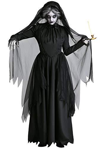 Lecoyeee Damen Horror Zombiebraut Kostüm Halloween Fasching Geist Braut Vampir Hexe Kostüm Gruselig Karneval Verkleidung Party Geisterbraut Sexy Cosplay Kleid Set für Erwachsene Frauen Faschingskostüm (Teufel Märchen Kostüm Für Erwachsene)
