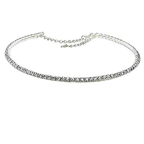 iShine Damen Halskette mit Klein Strass Halskette mit Kette für Größe Einstellbar Schmuck Zubehör Classic Fashion 1/3/4/5 Rangs Silber Strass Mädchen Halskette