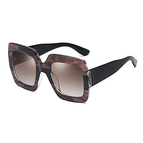 Damen Sonnenbrille Womens Übergroßen Platz Super Retro Sonnenbrille UV400 Schutz Für Radfahren Angeln Fahren 7 Farben Brille für Urlaubsreisen ( Color : Tortoise shell/tea , Size : Free size )
