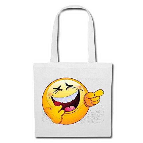 Tasche Umhängetasche LAUT LACHENDER LUSTIGER Smiley Smileys Smilies Android iPhone Emoticons IOS GRINSE Gesicht Emoticon APP Einkaufstasche Schulbeutel Turnbeutel in Weiß (Das Weiße Gesicht, Reifen)