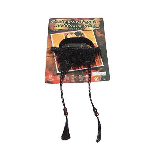 w Fluch der Karibik Klebe-Bart Schwarz - Piraten-Kostüm für Erwachsene & Kinder - perfekt für Fasching, Karneval & Halloween - Einheitsgröße (Jack Sparrow Kostüm Jungen)