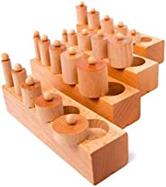 Mongolia Montessori Wooden Cylinder Socket for Child Educational Toy