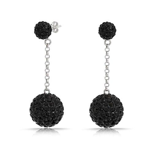 Bling Jewelry Schwarz Crystal Disco Ball Shamballa inspiriert Ohrringe Sterling (Ball Disco Ohrringe)