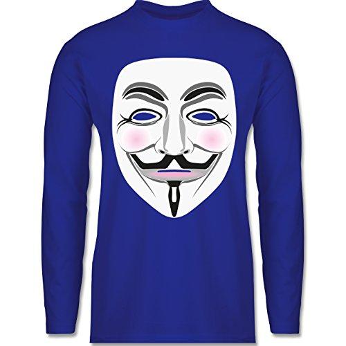 Nerds & Geeks - Anonymous Maske Hacker - Longsleeve / langärmeliges T-Shirt für Herren Royalblau