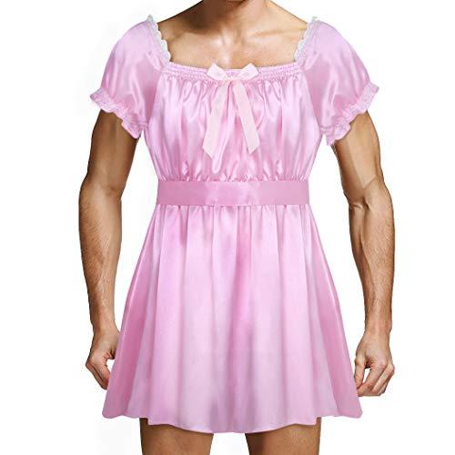inhzoy Männer Dessous-Crossdresser Nachtkleid Herren Sissy Kleider Spitze Satin Dienstmädchen Maid Kostüm Outfit Cosplay Reizwäsche Rosa Large (Männer Dienstmädchen-outfit Für)