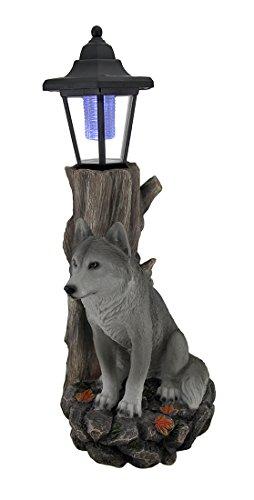Watchful Wolf Skulpturale Solar Laterne Statue (Laterne Eintrag)