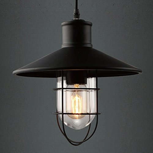BAYCHEER E27 Vintage Hängeleuchte mit Metallgestell Glaskuppel Industrielampe Pendelleuchte Kronleuchter für Bar, Esszimmer