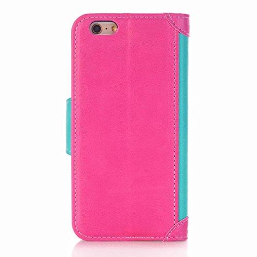Yiizy handyhülle Apple IPhone 6 6s hülle, Geschäft Tasche Leder Schutzhülle PU Ledertasche Bumper Schutz Flip Cover Case Magnet Beutel Klappe Silikon Gummi huelle Schale Stehen Kartenhalter Stil (Blau Blaue Rose Rot