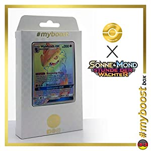 Wowerock-GX (Lycanroc-GX) 156/145 Arcoíris Secreta - #myboost X Sonne & Mond 2 Stunde Der Wachter - Box de 10 Cartas Pokémon Aleman