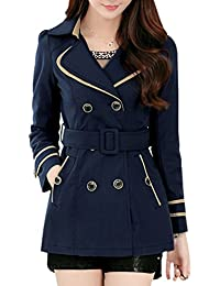 Yasong Women's Girls' Classical Long Sleeve Double Breasted Slim Fitted Belted Wind Coat Jacket Short Trench Coat