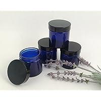 Preisvergleich für 4er packung x 60ml Leeres Blaues Glas Döschen mit schwarzem Deckel für Aromatherapie, Kosmetik und Creme