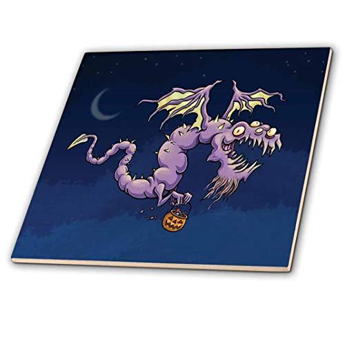 3drose Scary Halloween Flying Purple Dragon mit Trick or Treat Kürbis–Keramik Fliesen, 6(CT _ 216777_ 2)