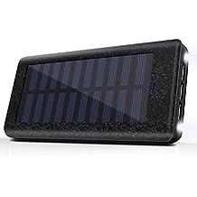 Cargador Solar 24000 mAh Batería Externa, 3 Puertos USB, 2 LED ligeros, Power bank del Movil Portátil Cargador Rapida para iPhone, iPad, Samsung, Huawei, Tablet -Negro