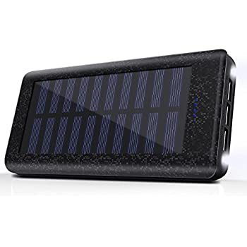 Portable Charger IZETE Solar Power Bank 24000mAh External Battery with 2A Input Port, 2 LED Light, 2 2A and 1 1A USB Charging Ports for iPhone, iPad, Samsung Galaxy, Android and other Smart USB Powered Devices-Black
