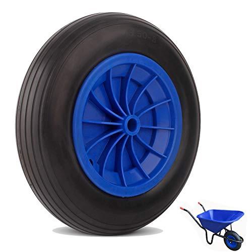 Everbest4u Roue brouette 350mm, increvable,roue en caoutchouc,Capacité de charge 80kg,bleu &noir