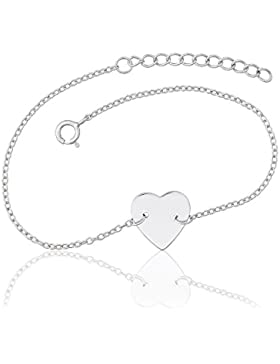 Juwelier Gelber 925 Silber Armband Gravur Platte Herz Wunsch Gravur