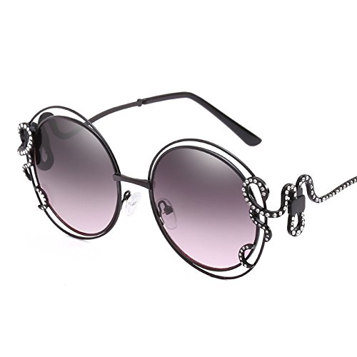 Mens Sunglasses Women Personality Big Frame Sunglasses Double Circle Hollow Sunglasses Inlaid Drill Irregular Curved Mirror Legs Ladies Glasses UV400 Protection