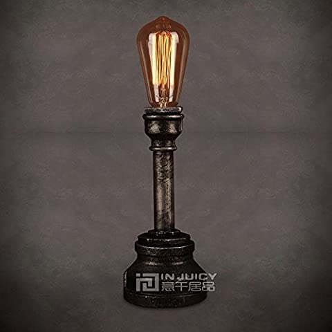 Injuicy Lighting Loft Vintage Industrial Steampunk Metal Wrought Iron Water Pipe Table Lights Bedside Retro E27 Edison Desk Accent Lamps for Cafe Bar Bedrooms Living Room Art