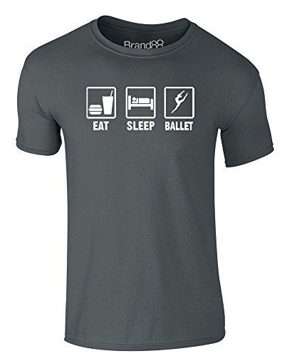 Brand88 - Eat Sleep Ballet, Erwachsene Gedrucktes T-Shirt Dunkelgrau/Weiß