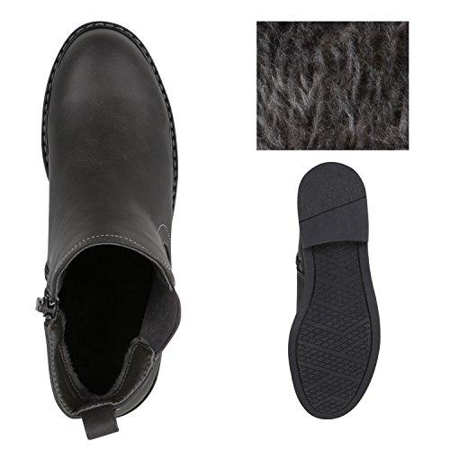 Stiefelparadies Damen Stiefeletten Glitzer Chelsea Boots Leder-Optik Blockabsatz Schuhe Knöchelhohe Stiefel Übergrößen Gr. 36-42 Flandell Grau Basic