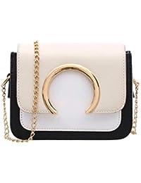 79e83a0448727 QinMM Damenmode Ring Dekoration Patchwork Crossbody Umhängetaschen PU  Handtasche Casual Bag…