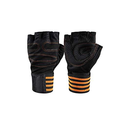 VIWIV Halffinger Sport-Fitness-Handschuhe mit langem Armband gegen Schleudern Gewichthebehandschuhe,Yellow,M