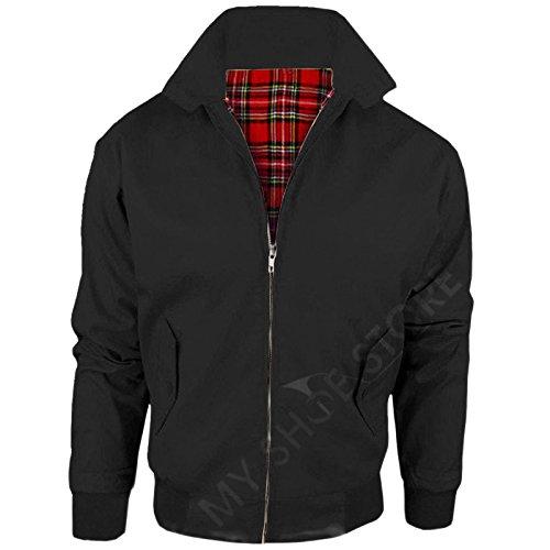 Vintage Harrington Von Wholesale Workwear - Erwachsene Harrington Jacke Britisch Mantel Klassisch 1970er Jahre Retro Scooter Kariertes Futter - Schwarz, XXXXL