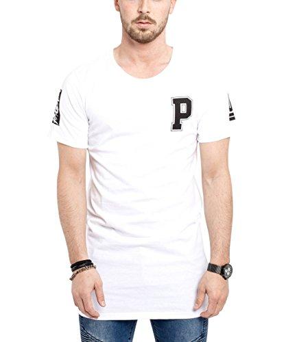 Phoenix Allstar Oversize T-Shirt Herren Longshirt Mit 09 Print Longline Tee Langes Stylisches Shirt - S M L XL Weiß - Gerade
