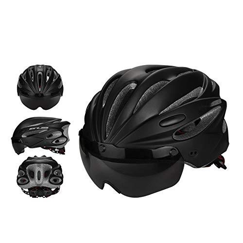 YFYZZ Fahrradhelm, Verstellbarer Helm Abnehmbares Visier Abnehmbare Magnetbrille für Straße & Berg für Erwachsene Männer & Frauen,Schwarz