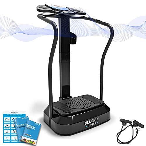 Bluefin Fitness Vibrationsplatte Pro Modell | Verbessertes Design mit Leisen Motoren und Eingebauten Lautsprechern (Mattschwarz)