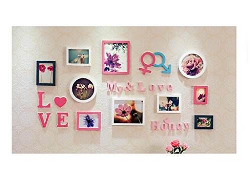 GYP Marry Cadeau Mode Solid Wood Photo Cadre mural Mur Living Combinaison créative Photo Wall Wall Stickers Romantique Couple Buckle Combinaison créative Design d'origine ( Couleur : B )