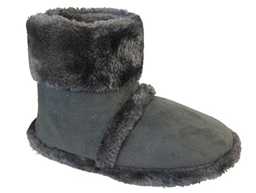 Men's Coolers Furry Ankle Boot Slippers Sizes 7 -12 (11/12 UK, Grey)
