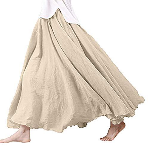 Frauen Bohemian Style elastische Taille Band Baumwolle Leinen Lange Maxi Rock Kleid -